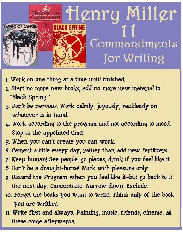 Henry Miller 11 Commandments